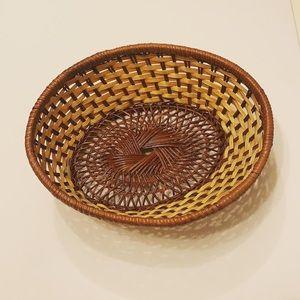 Vintage Accents - Boho Vintage Rattan Woven Bread Basket 🌾